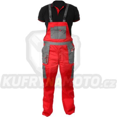 Pracovní kalhoty ACI montérky s laclem červenošedé letní