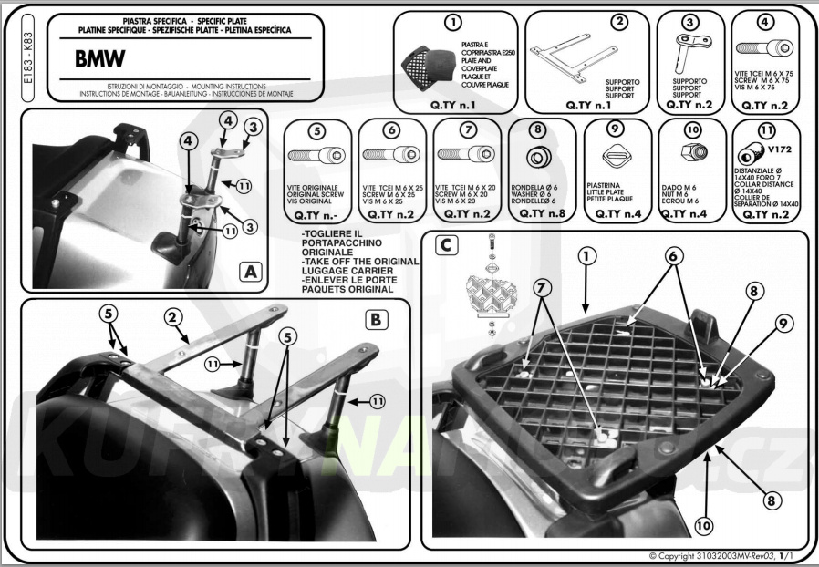 Montážní sada – nosič kufru držák Kappa Bmw R 1100 RT 1996 – 2000 K1560-K83
