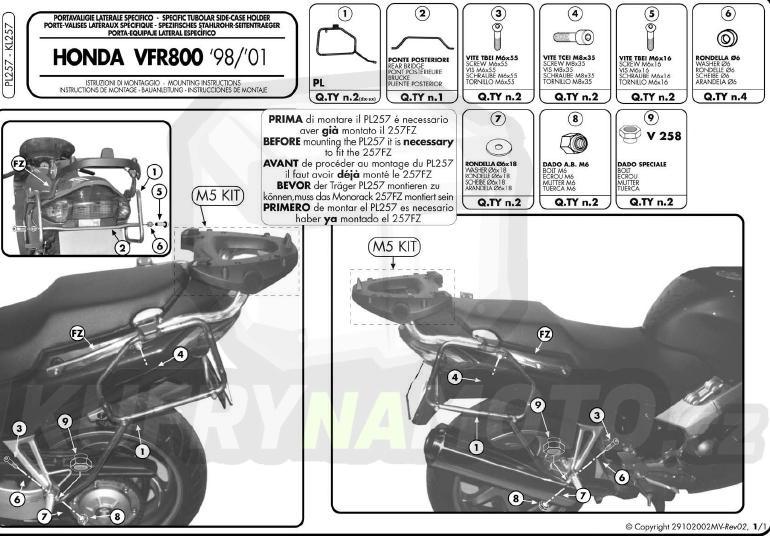 Montážní sada – nosič kufru držák Kappa Honda VFR 800 1998 – 2001 K222-KZ257
