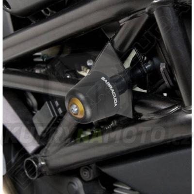 HLINÍKOVÉ NÁHRADNÍ HLAVY PADACÍCH PROTEKTORŮ - ČERNÁ pár Barracuda Ducati Monster 696 všechny r.v.