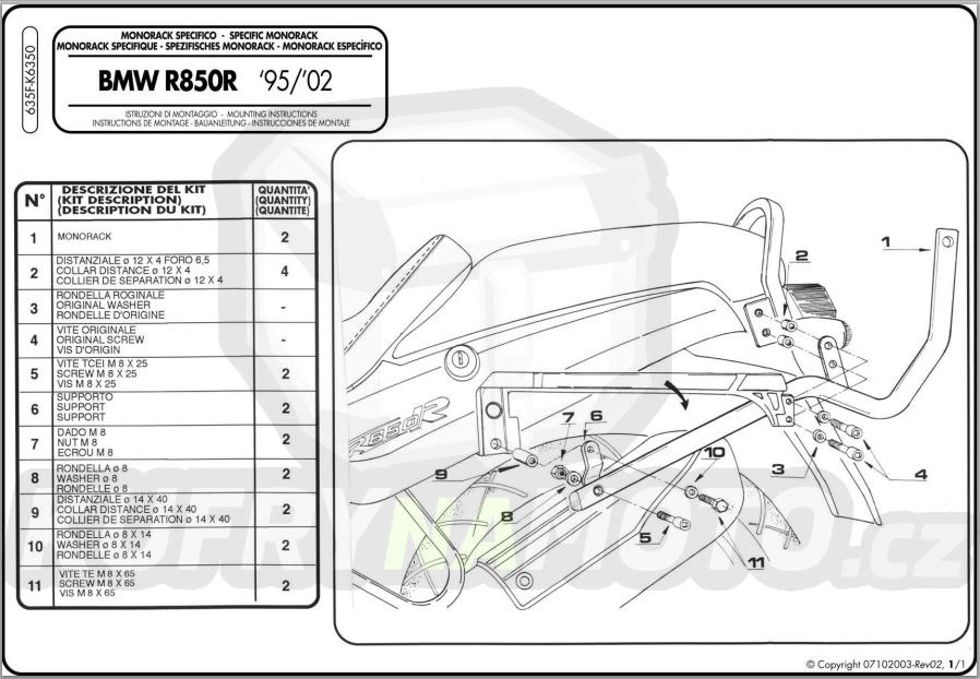 Kit pro montážní sada – nosič kufru Kappa Bmw R 850 R 1995 – 2002 K1583-K6350