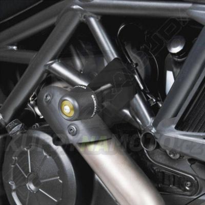 HLINÍKOVÉ NÁHRADNÍ HLAVY PADACÍCH PROTEKTORŮ - ČERNÁ pár Barracuda Ducati Diavel 1200 2010 - 2016