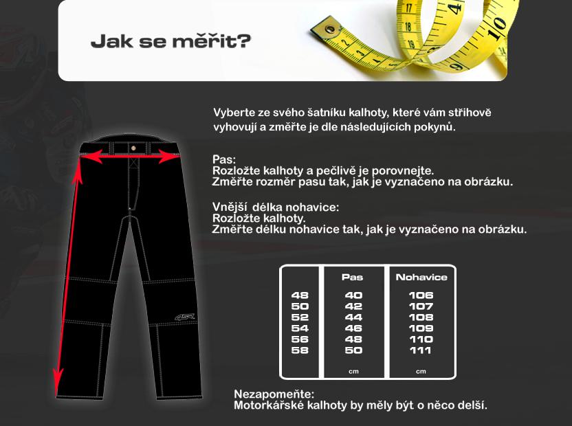 Tabulka pánské kalhoty kůže 4SR
