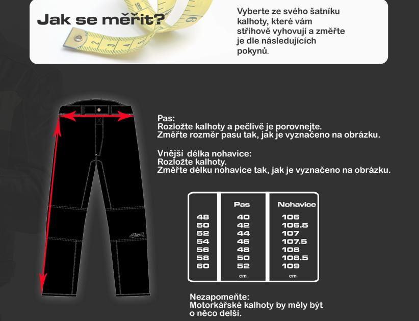 Tabulka pánské kalhoty textil 4SR